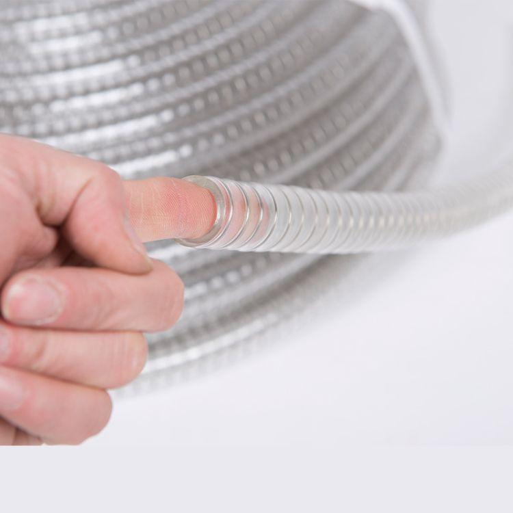 食品级钢丝平滑管透明不锈钢丝螺旋管抽酒管输送黄酒啤酒软管