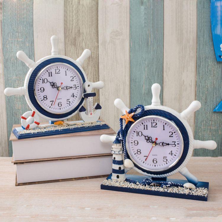 地中海风格座钟摆件客厅卧室创意装饰静音台钟航海舵手船舵小钟表
