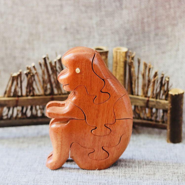 十二生肖立体拼图早教益智拼插大颗粒木制手工艺生日礼品猴子玩具