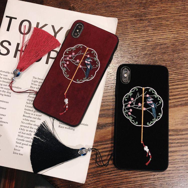 iphone xs手機殼 適用 蘋果xs max保護套x8plus古典刺繡手機殼