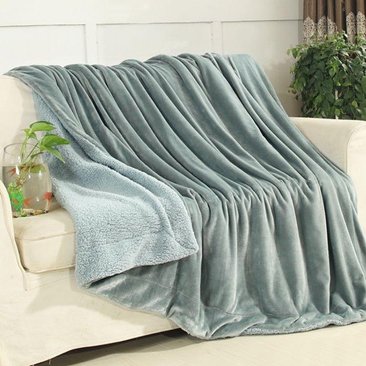 双层加厚羊羔绒毛毯法莱绒珊瑚绒复合毯子保暖盖毯外贸定制礼品毯