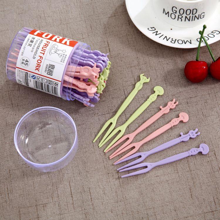水果叉子 蛋糕叉甜品点心水果叉卡通 塑料 独立装一包批发价
