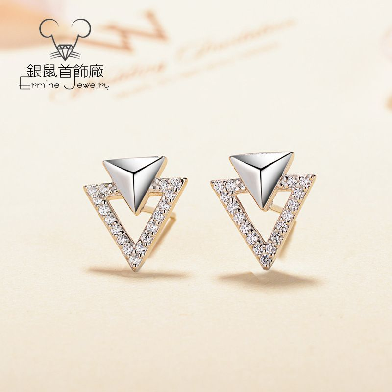 S925純銀耳釘個性銀飾品三角形幾何圖案簡約百搭鑲嵌批發一件代發