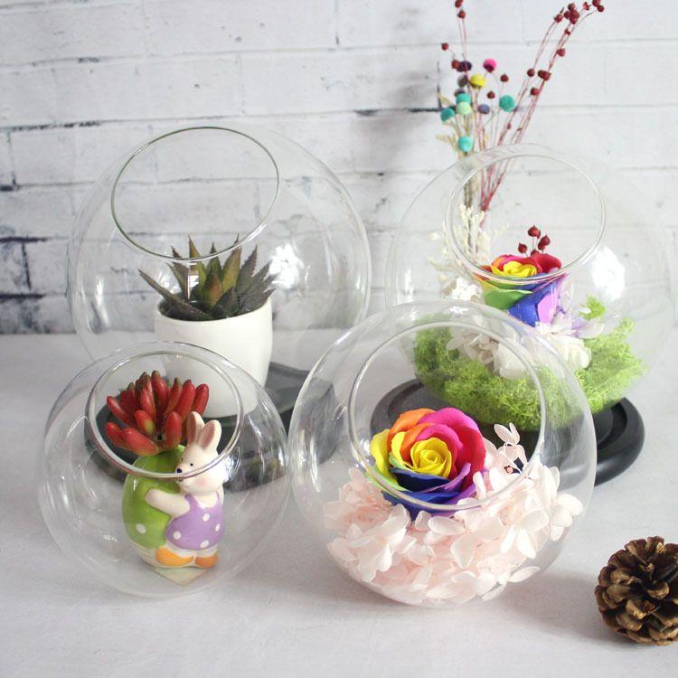 苔藓微景观斜口玻璃球玻璃花瓶批发 创意玻璃生态水培透明玻璃瓶