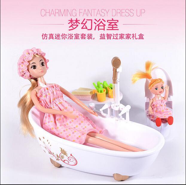 娇儿娃娃梦幻浴室娃娃女孩过家家洗澡洋娃娃玩具浴缸娃娃玩具公仔