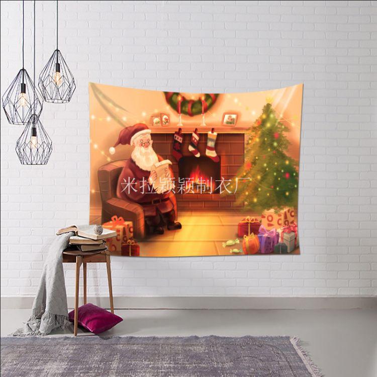 Y355亞馬遜wish爆款 圣誕節系列掛毯掛布墻毯 圣誕節日系列掛布