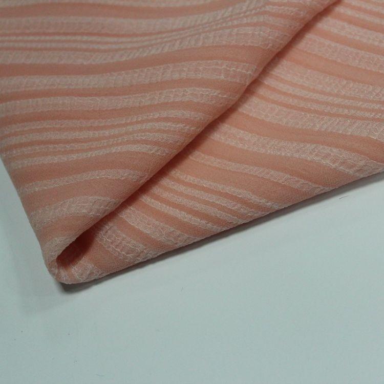 雪纺面料50*68D全涤纳米绉不规则条纹连衣裙吊带衫上衣时装面料