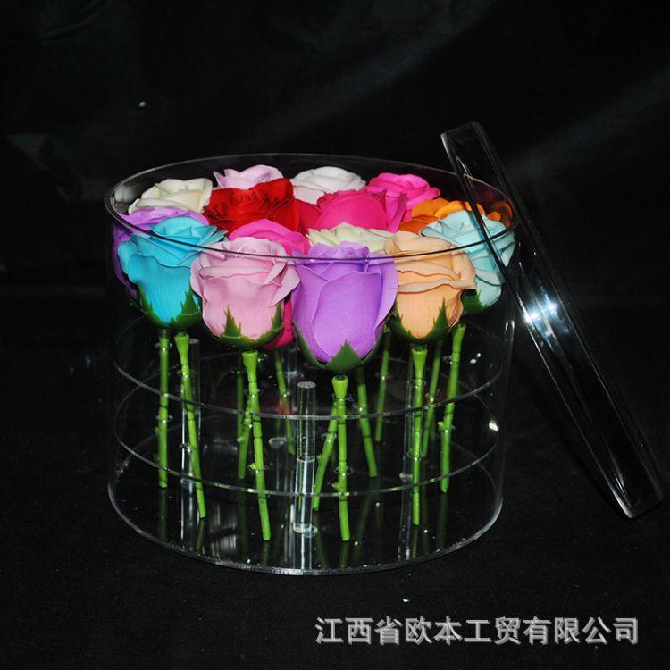 圆形花盒亚克力盒子定做亚克力花盒圆形花盒有机玻璃16孔花盒
