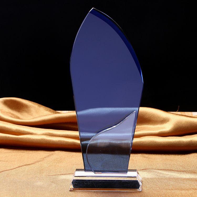 厂家直销 风帆透明水晶摆件 创意水晶工艺品奖杯企业年会纪念礼品