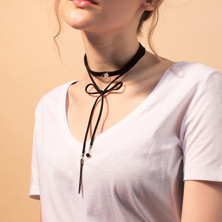 韩式黑色绒带女锁骨女式金色圆环chocker时尚项圈