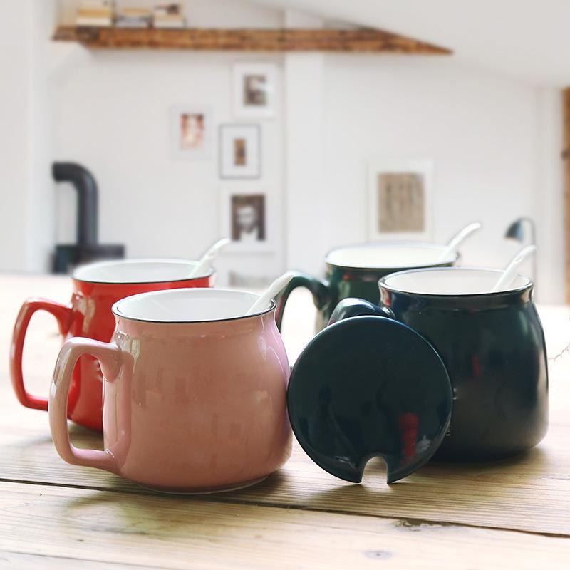 养生杯子 包邮陶瓷杯子 素食全餐杯子 带盖包邮马克杯陶瓷杯子