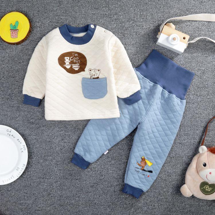 18款可选纯棉加厚三层保暖儿童内衣套装夹棉高腰护肚棉裤婴儿套装