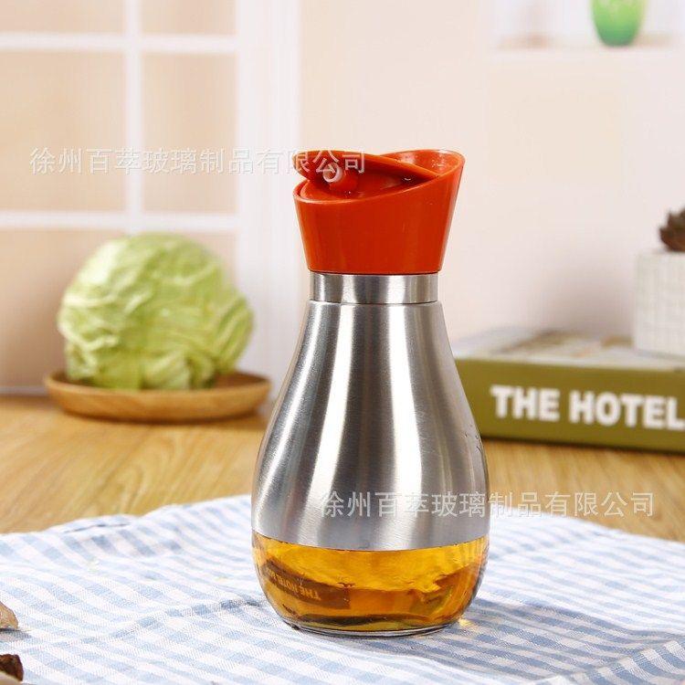 创意厨房调料瓶 不锈钢玻璃油壶油瓶 密封旋转调味瓶 酱油壶