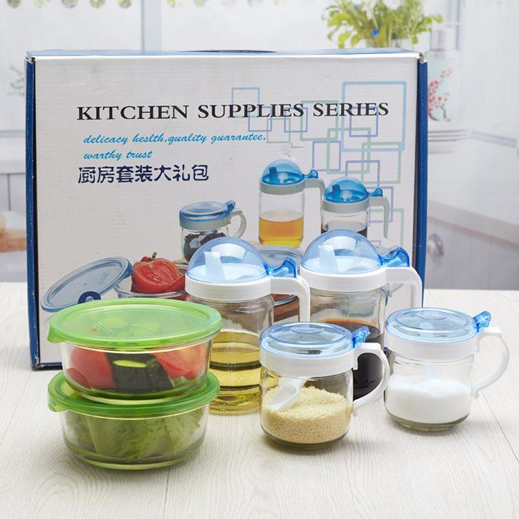 厨宝大礼包六件套 玻璃油壶调味罐套装促销赠品礼品厂家批发