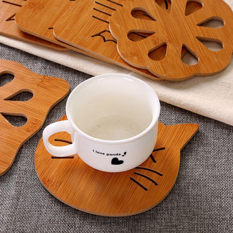 2018创意镂空木质卡通茶杯垫隔热垫防滑餐垫一元商品赠品定制批发