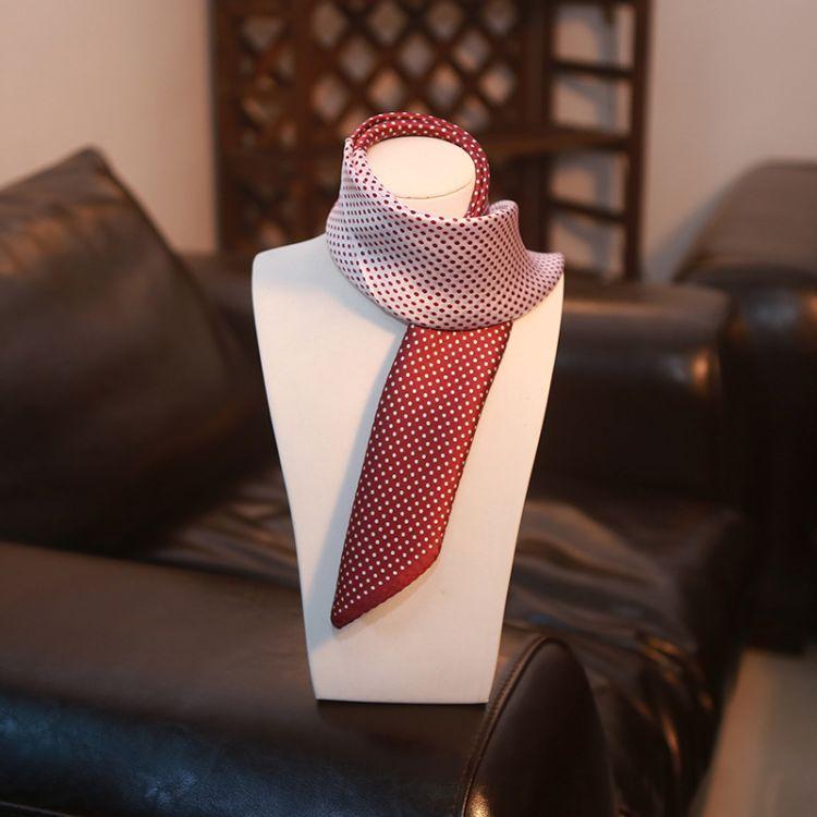 新款品質絲巾桑蠶絲[波點]真絲小方巾小絲巾職業圍巾