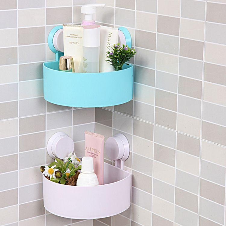 卫生间壁挂浴室三角角架吸盘浴室置物架洗手间化妆品收纳架