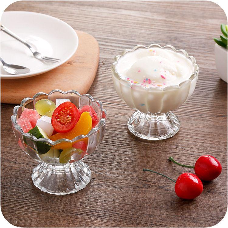 厂家直销无铅玻璃冰淇淋雪糕球奶昔杯刨冰碗水果沙拉冰淇淋店专用