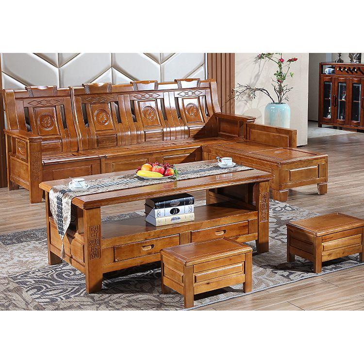 四人位厂家直销客厅实木沙发 香樟木沙发座组合实木沙发