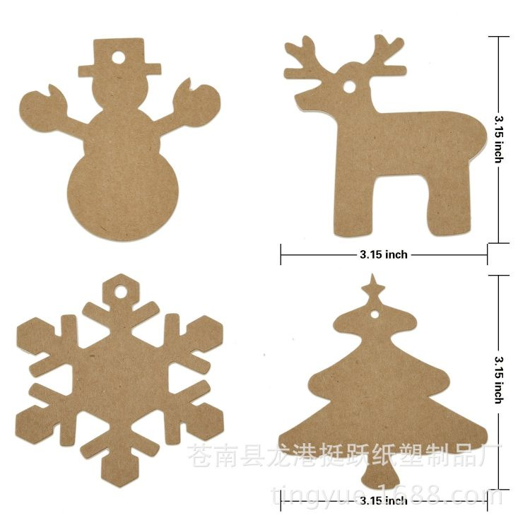 现货爆款 4款100pcs 麋鹿雪人雪花片圣诞树牛皮纸吊牌 标签包装