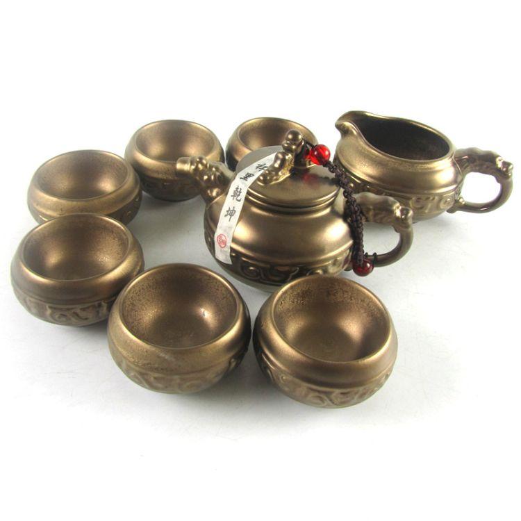 青铜茶具 鎏金铁锈茶具 仿古陶瓷 镀金 镶金 茶具套装