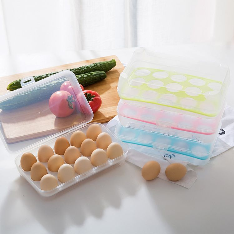 厨房用品冰箱鸡蛋防碰保鲜盒15格便携野餐鸡蛋塑料收纳盒蛋托蛋格