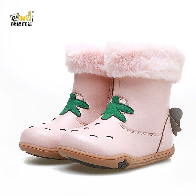 熊猫胖迪冬季新款女童靴立体草莓潮靴韩版百搭中筒靴