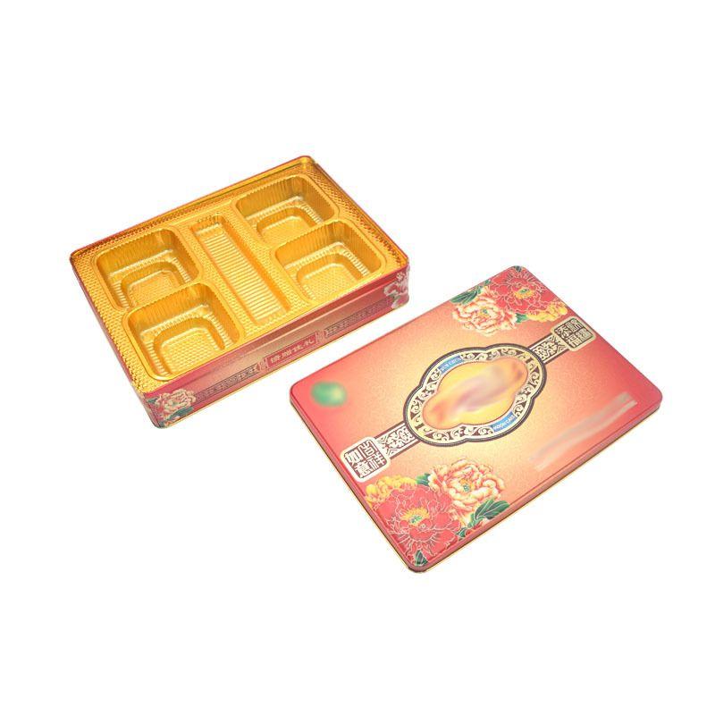 工厂订制长方形四个装月饼铁盒 六个装月饼金属包装盒 月饼盒厂家