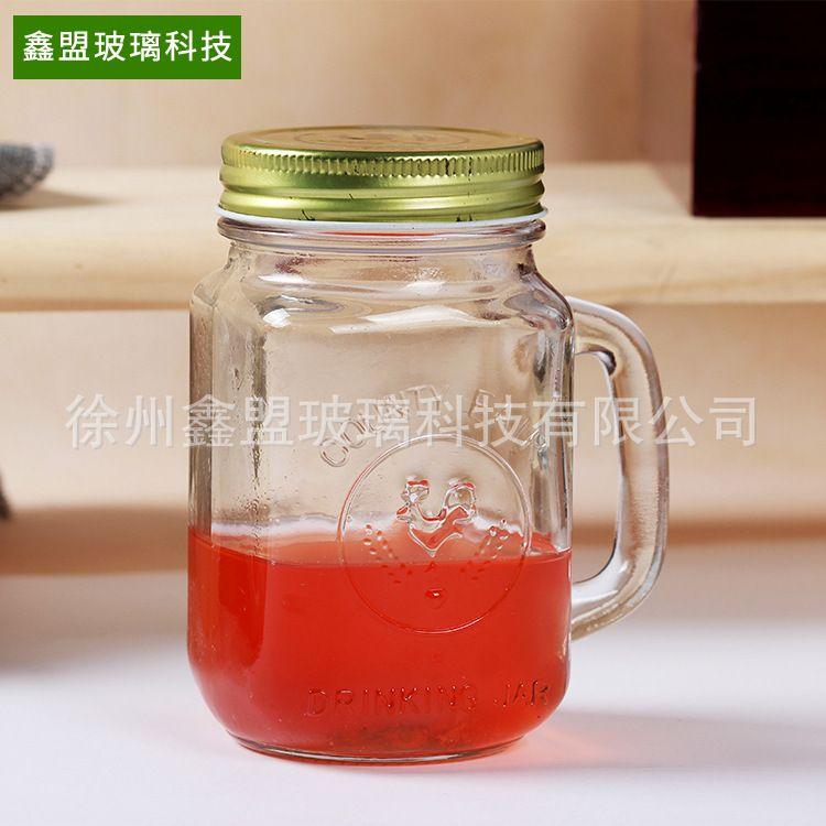 厂家直销公鸡杯 带把手带盖玻璃杯透明方形复古玻璃杯 奶茶玻璃杯