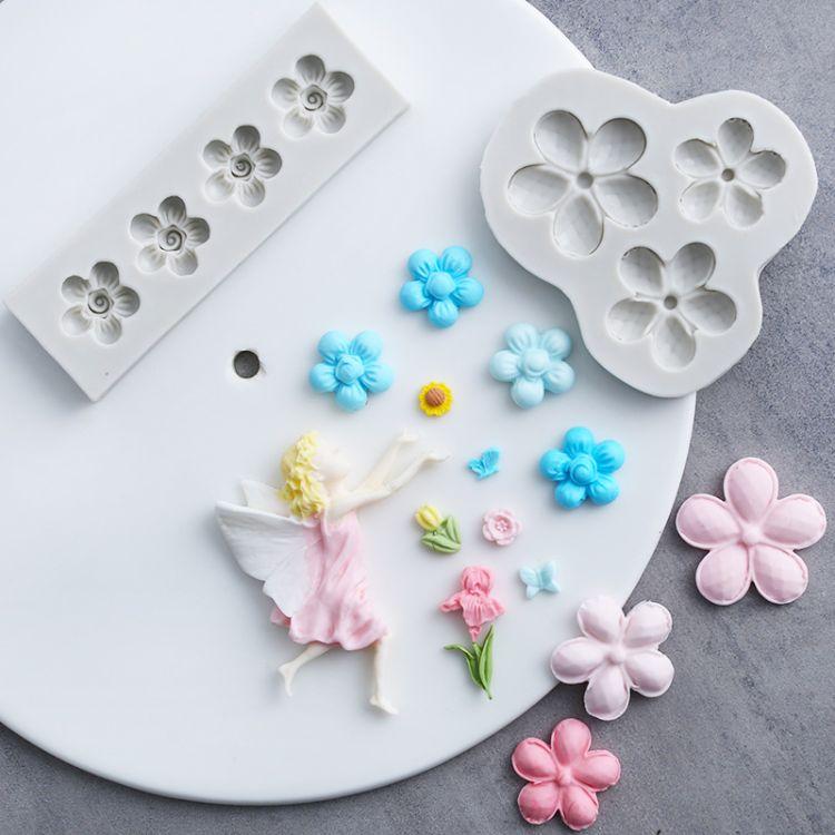 新款宝石花翻糖巧克力天使模具花仙子硅胶模具蛋糕装饰WMJ-882