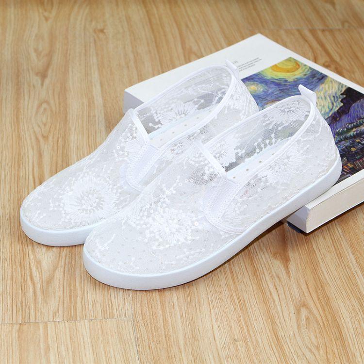 夏季新款 休闲时尚平底单鞋  少女鞋  蕾丝网鞋 厂家直销一件代发