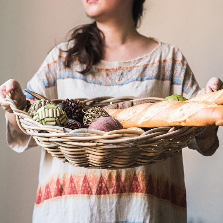 初夏印尼天然藤编大型收纳筐篮盘装饰面包筐水果篮美式果篮