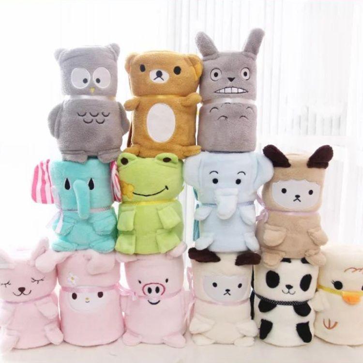 儿童礼物 多款动物卷毯可爱珊瑚绒儿童毯 卡通空调午休小鸡毯子
