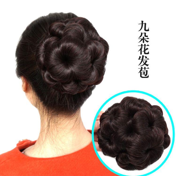 九朵花9假发发包 花朵发包 假发丸子头蓬松发包发包花苞头盘发器