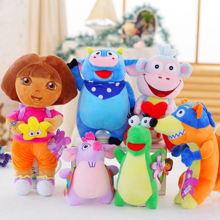 正版朵拉玩具毛绒公仔玩偶娃娃布茨猴子捣蛋鬼儿童生日礼物