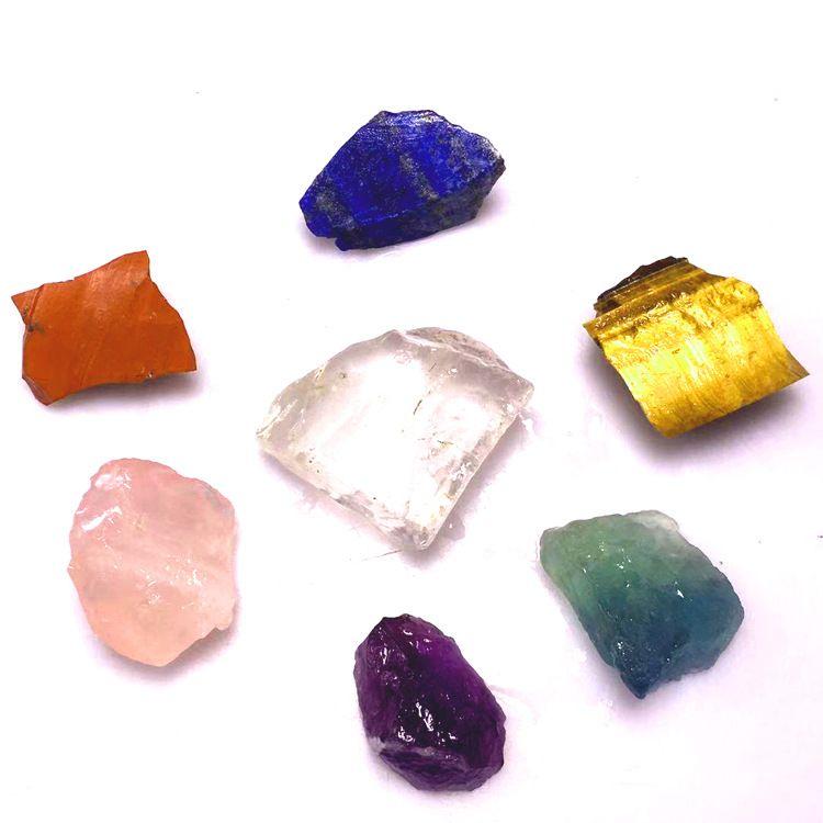 天然水晶半宝石碎石 风水 消磁 疗愈 不规则七彩水晶半宝石能量石