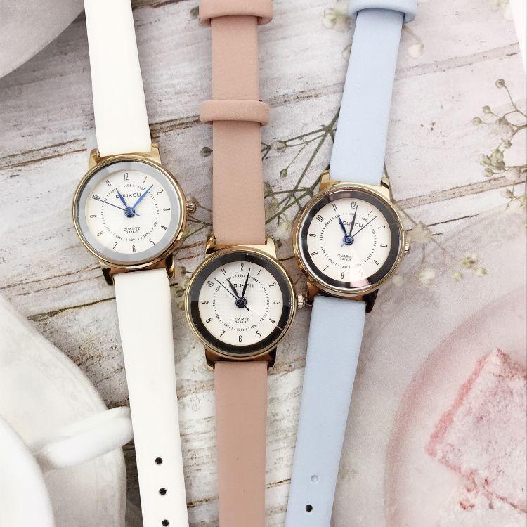 豆蔻doukou3416小号玫瑰金石英数字皮带情侣手表