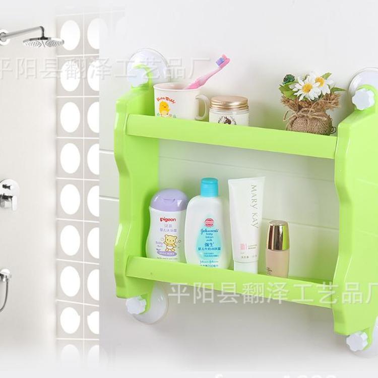 厂家直销无痕强力真空吸盘置物架收纳盒 两层厨房浴室置物架