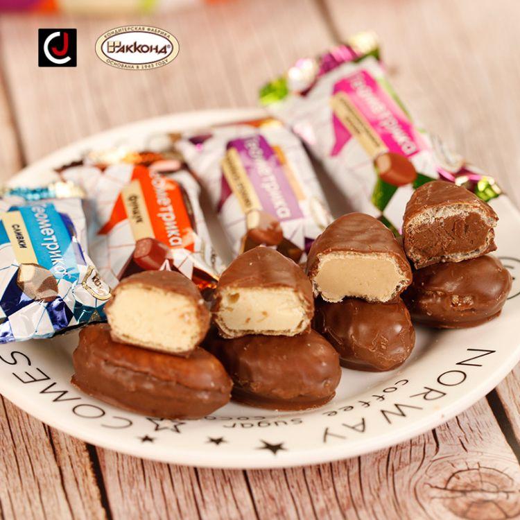 进口糖果俄罗斯阿孔特几何艺术巧克力糖衣焦糖牛奶夹心糖硬糖喜糖