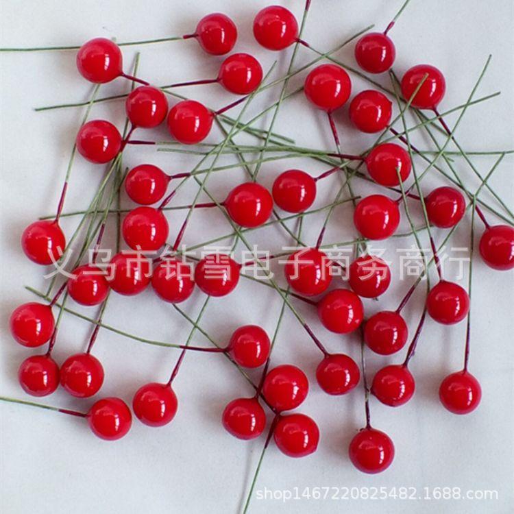 12mm圆球浆果 仿真泡沫水果 樱桃 小红果 牡丹果 圣诞用品配件