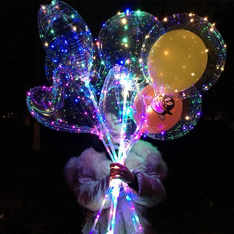 厂家直销透明发光LED波波球 网红气球带灯氦气球广场夜市爆款包邮