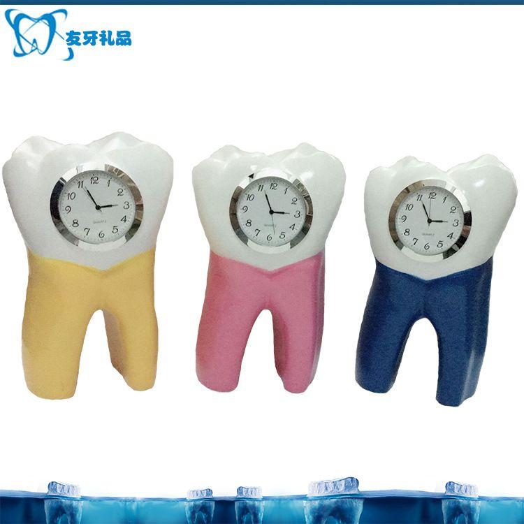 创意牙齿小台钟厂家直销新款牙齿形台钟创意牙齿钟牙齿座钟