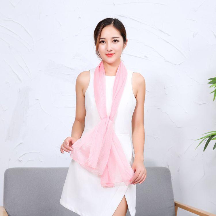 純色絲巾美人紗女士絲巾夏季防曬紗巾促銷禮品5元模式便宜絲巾