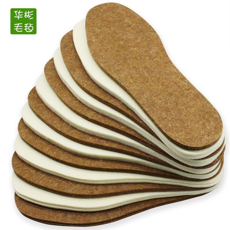 厂家直销冬季保暖驼色毛毡鞋垫大量供应跑江湖地摊暴利除臭鞋垫