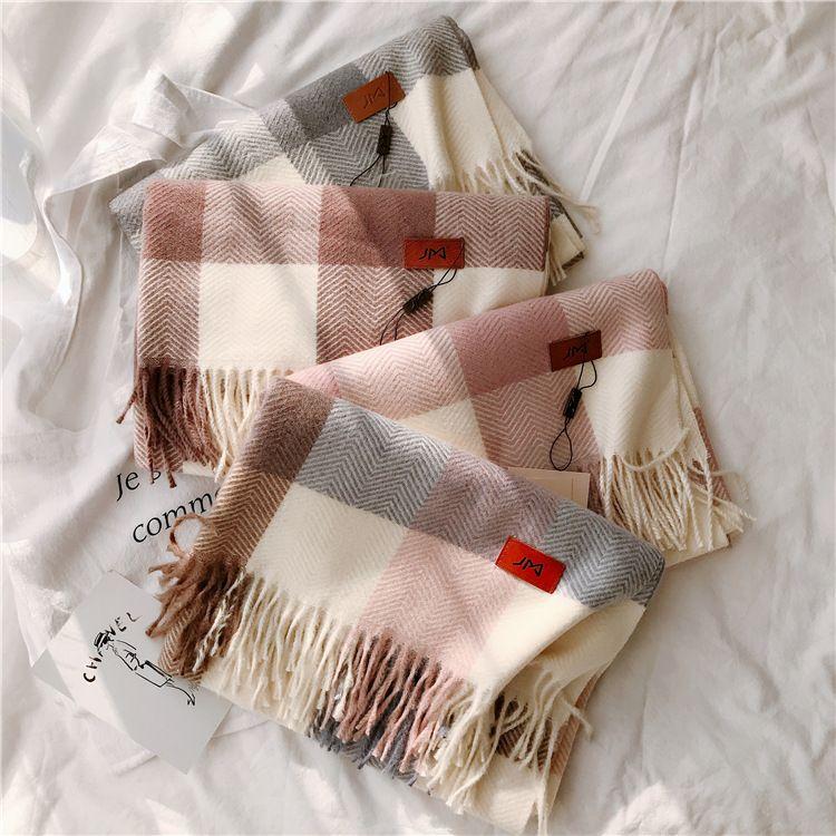 JM圍巾女冬季韓版百搭仿羊絨格子女英倫經典冬天大披肩圍脖