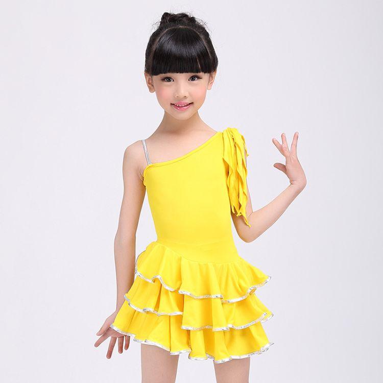 儿童舞蹈服连衣裙夏季拉丁舞练功服舞蹈衣女国标舞演出服厂家直销