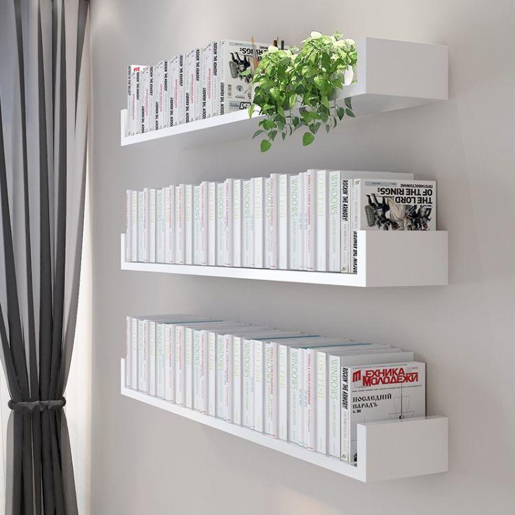 宿舍壁挂板挂墙式少女房间免打孔书架墙上置物架简易悬挂式书房