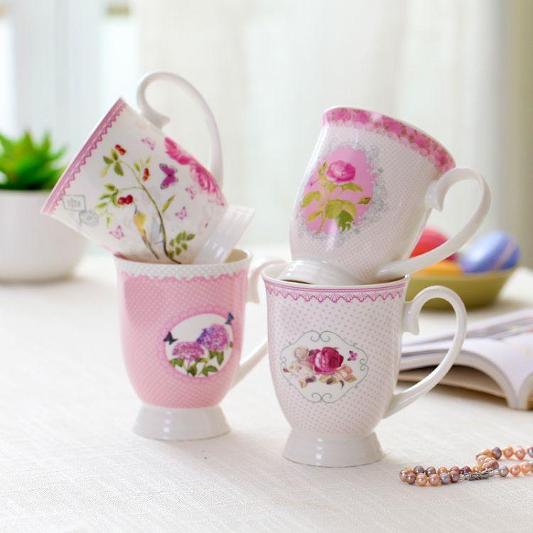 创意款水杯花卉陶瓷马克杯批发 陶瓷杯子 LOGO定制单层礼品杯赠品