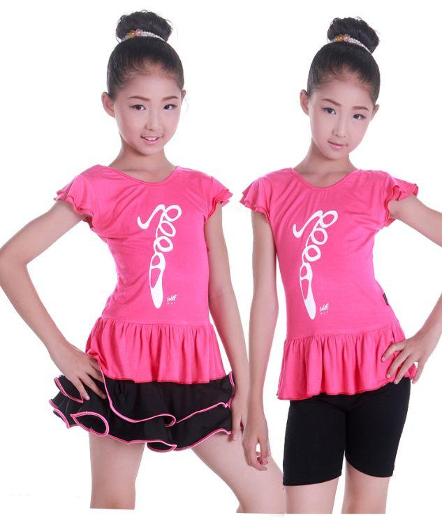 新款儿童拉丁舞蹈服装女童夏季短袖练功跳舞套装玫红舞蹈衣黑短裤