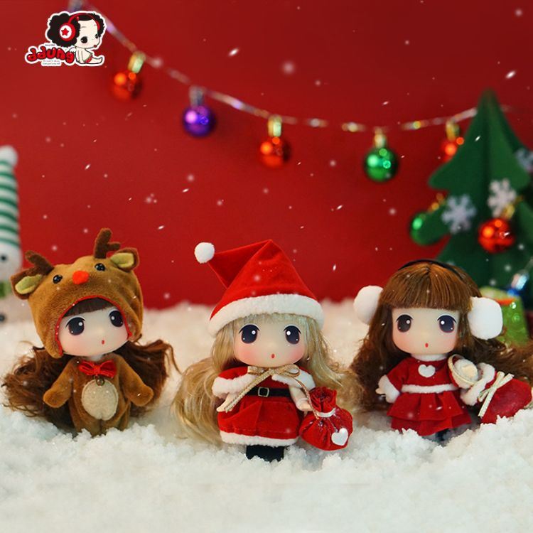 ddung 冬己迷糊娃娃圣诞装娃娃换装女孩公主洋娃娃圣诞礼物装饰品